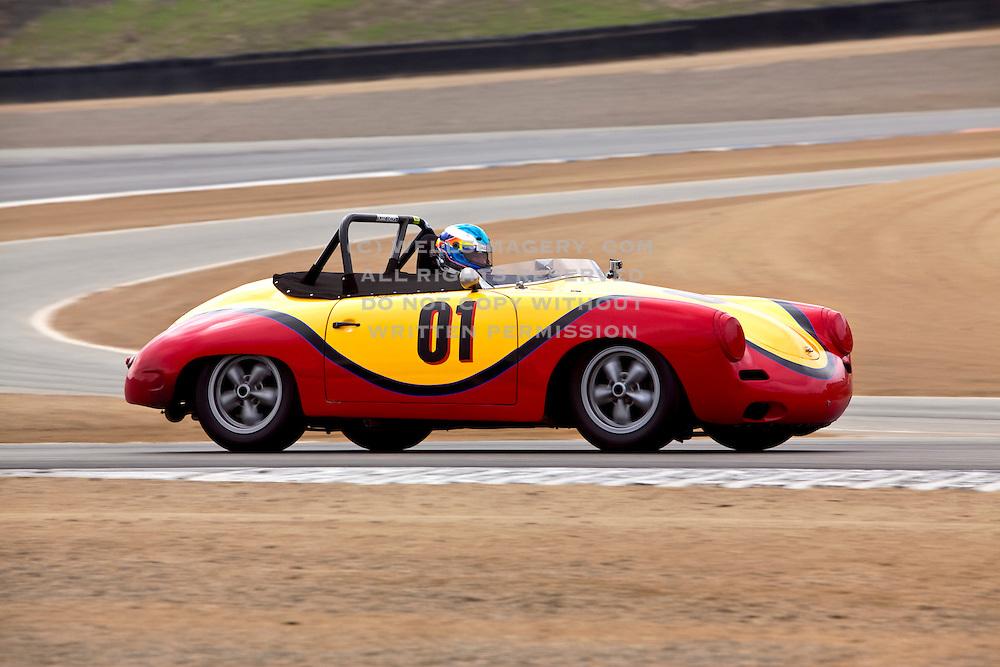 Image of a Porsche 356 sports car racing at Rennsport Reunion IV, Laguna Seca, California, America west coast