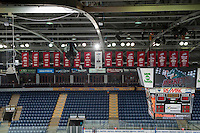 KELOWNA, CANADA - JANUARY 3: Championship banners of the Kelowna Rockets hang in the rafters on January 3, 2015 at Prospera Place in Kelowna, British Columbia, Canada.  (Photo by Marissa Baecker/Shoot the Breeze)  *** Local Caption ***
