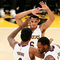 27 November 2016: Los Angeles Lakers guard Nick Young (0) is congratulated by Los Angeles Lakers guard Jordan Clarkson (6) during the Los Angeles Lakers 109-94 victory over the Atlanta Hawks, at the Staples Center, Los Angeles, California, USA.