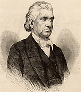 Lyman Beecher (1775-1863) American Presbyterian minister. Father of Henry Ward Beecher, abolutionist preacher, and Harriet Beecher Stowe author of 'Uncle Tom's Cabin'.   Engraving c1860.