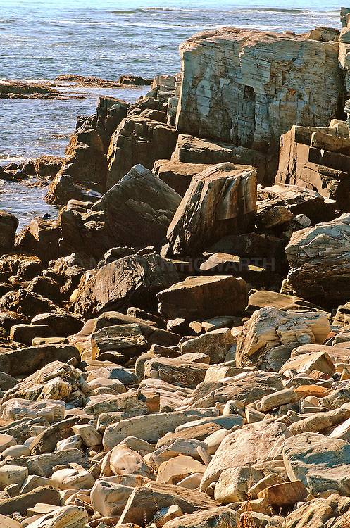 rocky coast Maine Beach rocks and stones formed by surf Maine rocky coast