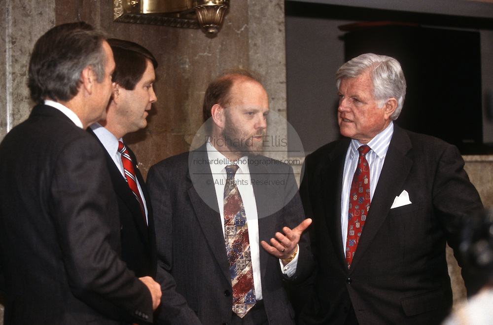 Ian Wilmut, of Scotland's Roslin Institute speaks with Sen. Ted Kennedy in Congress March 12, 1997 on human cloning.
