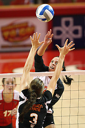 01 September 2012: LeighAnn Hranka and Camille Saxton battle at the net during an NCAA womens volleyball match between the Oregon State Beavers and the Illinois State Redbirds at Redbird Arena in Normal IL