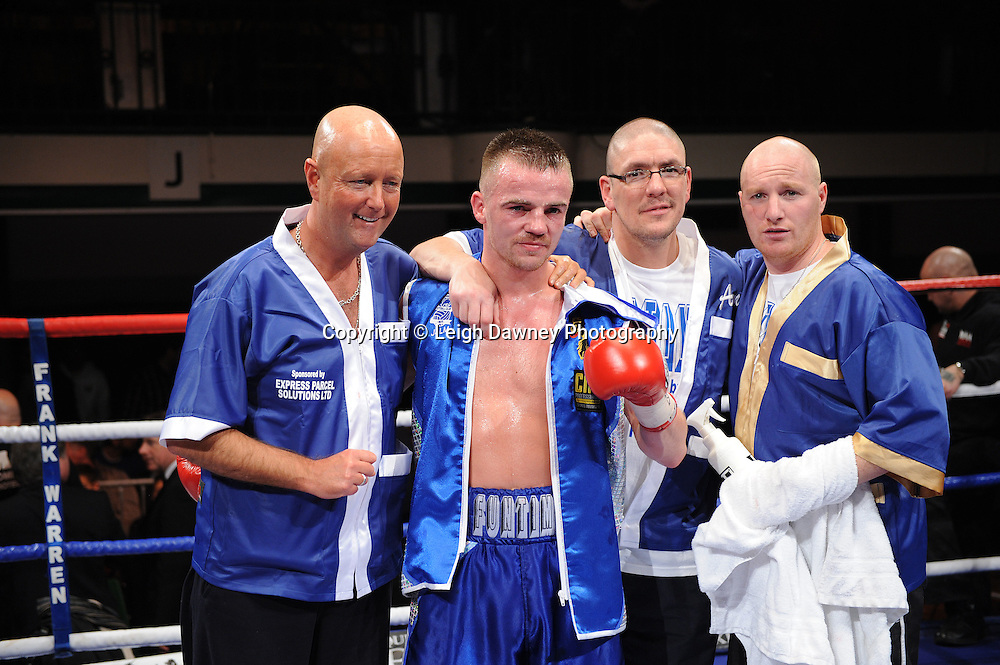 Light Welterweight Frankie Gavin and team celebrate his win over Michael Lomax at York Hall, Bethnal Green, London on the 19th February 2011. Frank Warren Promotions. Photo credit © Leigh Dawney.