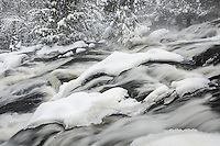 A snowy section between Upper and Lower Bond Falls in Michigan's Upper Peninsula
