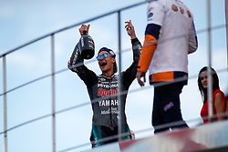 November 17, 2019, Cheste, VALENCIA, SPAIN: Fabio Quartararo, rider of Petronas Yamaha SRT from France, celebrates the second place in the Race of MotoGP at the Podio of the Valencia Grand Prix of MotoGP World Championship celebrated at Circuit Ricardo Tormo on November 16, 2019, in Cheste, Spain. (Credit Image: © AFP7 via ZUMA Wire)
