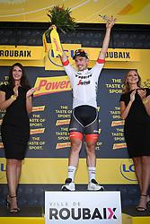 July 15, 2018 - Amiens Metropole, FRANCE - German John Degenkolb of Trek-Segafredo celebrates on the podium after winning the eighth stage of the 105th edition of the Tour de France cycling race, from Arras Citadelle to Roubaix (156,5 km), in France, Sunday 15 July 2018. This year's Tour de France takes place from July 7th to July 29th. BELGA PHOTO DAVID STOCKMAN (Credit Image: © David Stockman/Belga via ZUMA Press)