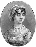 Jane Austen (1775-1817) English novelist remembered for her six great novels 'Sense and Sensibility', 'Pride and Prejudice', 'Mansfield Park', 'Emma', 'Persuasion', and 'Northanger Abbey'. Engraving.