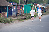 24/11/2013 repro free Ronan Scully Plan Ireland and David Dalton Plan Ireland taking part in the Great Ethiopian run in Hawassa as opposed to the Capital Addis Ababa due to a security threat, part of a group of 20 from Ireland who ran the race in aid of Self Help Africa. Photo:Andrew Downes