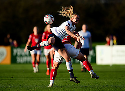 Sophie Bradley-Auckland of Liverpool Women contends for the aerial ball with Elise Hughes of Bristol City - Mandatory by-line: Ryan Hiscott/JMP - 19/01/2020 - FOOTBALL - Stoke Gifford Stadium - Bristol, England - Bristol City Women v Liverpool Women - Barclays FA Women's Super League