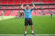 Forest Green Rovers assistant manager, Scott Lindsey celebrates during the Vanarama National League Play Off Final match between Tranmere Rovers and Forest Green Rovers at Wembley Stadium, London, England on 14 May 2017. Photo by Shane Healey.