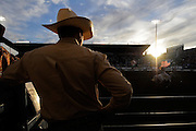 A cowboy watches a performance during the Reno Rodeo on Sunday June 20, 2010 in Reno, Nev.<br /> (AP Photo/Nevada Appeal, Kevin Clifford).