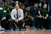 DALLAS, TX - JANUARY 15: South Florida Bulls head coach Stan Heath looks on against the SMU Mustangs on January 15, 2014 at Moody Coliseum in Dallas, Texas.  (Photo by Cooper Neill/Getty Images) *** Local Caption *** Stan Heath