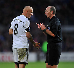 Swansea City's Jonjo Shelvey confronts the rev. - Photo mandatory by-line: Alex James/JMP - Tel: Mobile: 07966 386802 03/11/2013 - SPORT - FOOTBALL - The Cardiff City Stadium - Cardiff - Cardiff City v Swansea City - Barclays Premier League