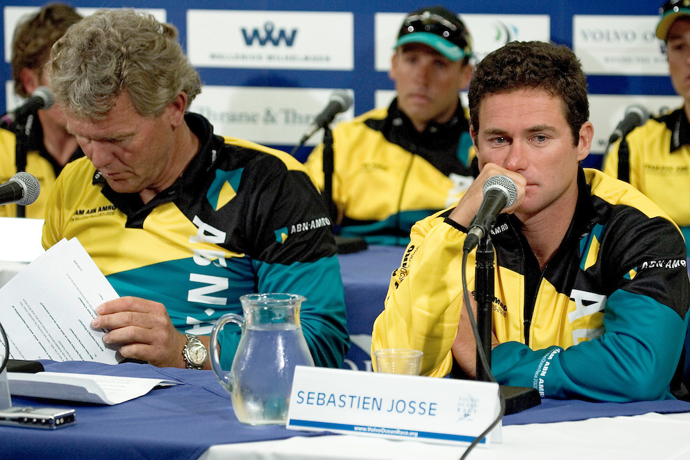 ABN Amro 2 Press Conference, 23rd May 2006. .Technical director of Team ABN Amro Roy Heiner and ABN Amro Two skipper Sebastien Joss at the press conference. Media were allowed this opportunity only, to ask questions about the death of Hans Horrevoets on board on the 18th May..