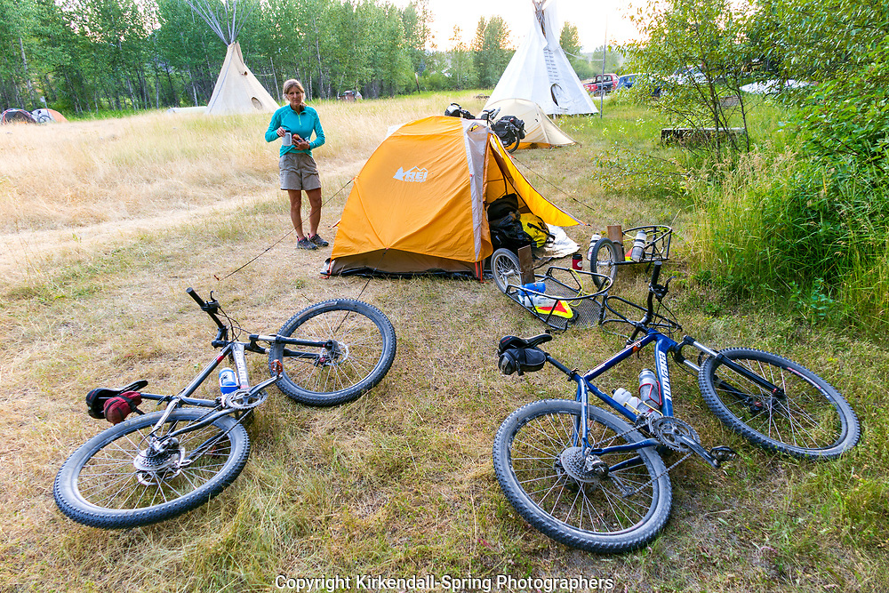 BC00647-00...MONTANA - Campsite at the Polebridge Hostel along the Great Divide mountain Bike Route.