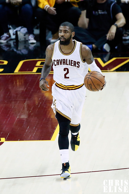 07 June 2017: Cleveland Cavaliers guard Kyrie Irving (2) brings the ball up court during the Golden State Warriors 118-113 victory over the Cleveland Cavaliers, in game 3 of the 2017 NBA Finals, at  the Quicken Loans Arena, Cleveland, Ohio, USA.