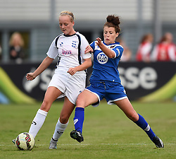 Angharad James of Bristol Academy Women challenges Chloe Peplow of Birmingham City Ladies - Mandatory by-line: Paul Knight/JMP - Mobile: 07966 386802 - 29/08/2015 -  FOOTBALL - Stoke Gifford Stadium - Bristol, England -  Bristol Academy Women v Birmingham City Ladies FC - FA WSL Continental Tyres Cup