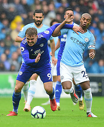 Danny Ward of Cardiff City battles for the ball with Fernandinho of Manchester City - Mandatory by-line: Alex James/JMP - 22/09/2018 -  FOOTBALL - Cardiff City Stadium - Cardiff, Wales -  Cardiff City v Manchester City - Premier League