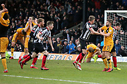 Grimsby Town midfielder James Bennett (7) scores a goal 1-1 and celebrates  during the EFL Sky Bet League 2 match between Grimsby Town FC and Port Vale at Blundell Park, Grimsby, United Kingdom on 10 March 2018. Picture by Mick Atkins.