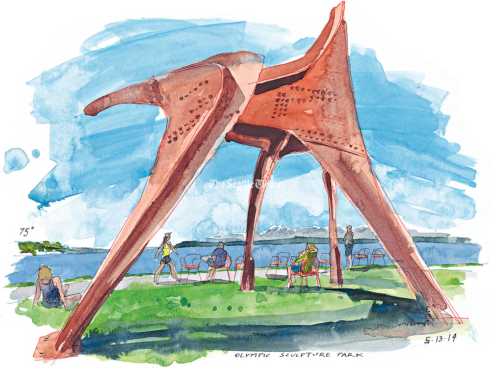 Alexander Calder's &quot;Eagle&quot; stands tall on a sunny day in Seattle's Olympic Sculpture Park.<br /> <br /> Gabriel Campanario / The Seattle Times