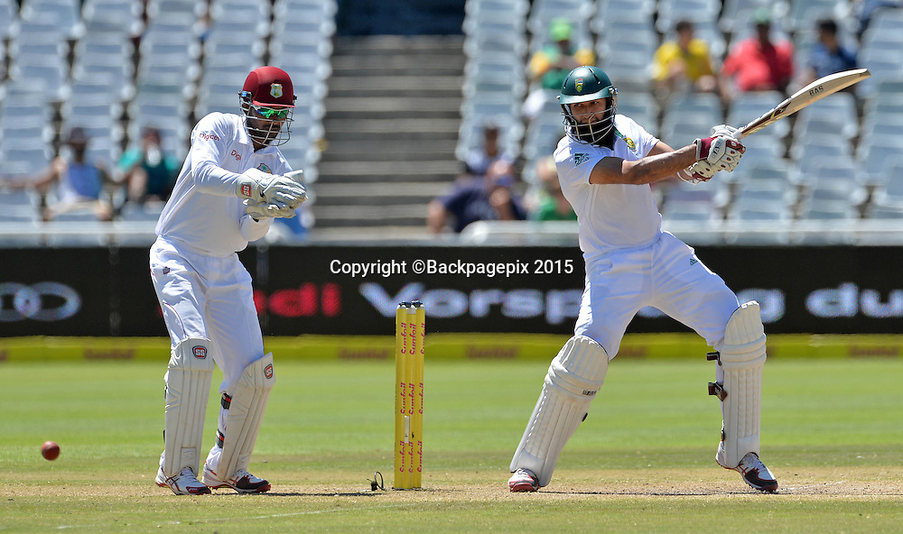 Hashim Amla of South Africa during Day 5 of the 2015 Sunfoil Test Series Cricket Match between South Africa and the West Indies at Newlands Stadium, Cape Town on 5 January 2015 ©Chris Ricco/BackpagePix