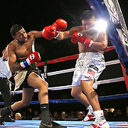 Cesar Seda (L) fights Rogelio Casarez during a Fire Fist Boxing Promotions boxing match at the A La Carte Pavilion on Saturday, August 12 , 2017 in Tampa, Florida.  (Alex Menendez via AP)
