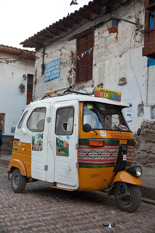 Mototaxi parked in Pisac, Urubamba region, Peru.