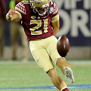 Florida State Seminoles place kicker Logan Tyler (21) kicks off during an NCAA football game between the Ole Miss Rebels and the Florida State Seminoles at Camping World Stadium on September 5, 2016 in Orlando, Florida. (Alex Menendez via AP)