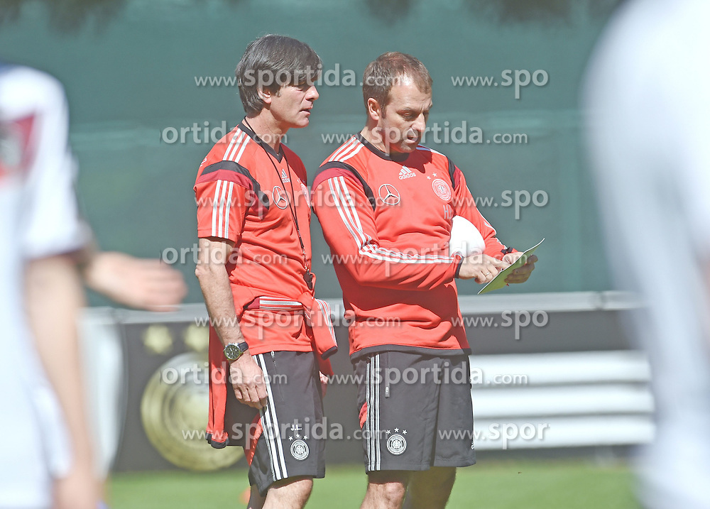 24.05.2014, Sportplatz, St. Martin Passeiertal, ITA, FIFA WM, Vorbereitung Deutschland, im Bild vl. Bundestrainer Joachim, Jogi Loew im Gespraech mit Assistenz-Trainer Hans-Dieter Flick // during Trainingscamp of Team Germany for Preparation of the FIFA Worldcup Brasil 2014 at the Sportplatz in St. Martin Passeiertal, Italy on 2014/05/24. EXPA Pictures &copy; 2014, PhotoCredit: EXPA/ Eibner-Pressefoto/ DFB-Pool<br /> <br /> *****ATTENTION - OUT of GER*****