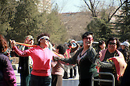 dancing ladies in the park at the end of &quot;happy healthy&quot; street (Kangle Jie)<br /> Shijiazhuang, Hebei, China