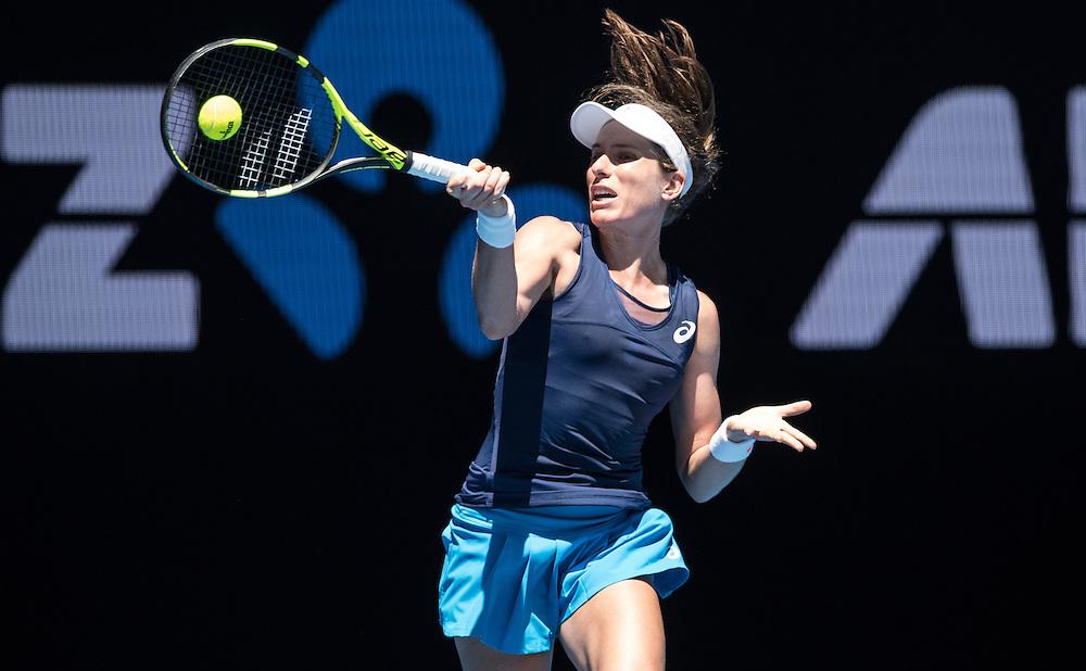 Johanna Konta of Great Britain on day four of the 2017 Australian Open at Melbourne Park on January 19, 2017 in Melbourne, Australia.<br /> (Ben Solomon/Tennis Australia)
