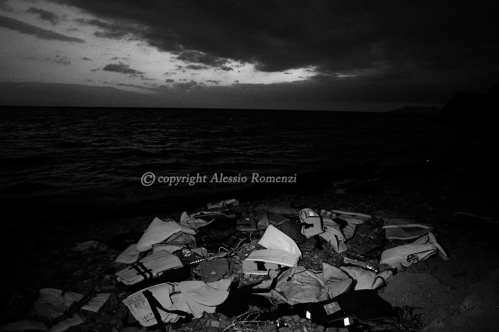 Greece, Lesbos: Abandoned life jackets by migrants on the northern coast of Lesbos island. Alessio Romenzi