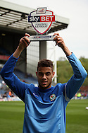 Blackburn Rovers&rsquo; Rudy Gestede collects his Sky Bet Player of the Month Award.  Skybet football league championship match, Blackburn Rovers v Wigan Athletic at Ewood Park in Blackburn, England on Saturday 3rd May 2014.<br /> pic by Chris Stading, Andrew Orchard sports photography.