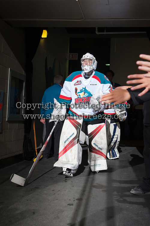 KELOWNA, CANADA - SEPTEMBER 2: Goalie Brodan Salmond #31 of the Kelowna Rockets enters the ice against the Victoria Royals on September 2, 2017 at Prospera Place in Kelowna, British Columbia, Canada.  (Photo by Marissa Baecker/Shoot the Breeze)  *** Local Caption ***