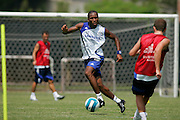 LOS ANGELES - JULY 10: Didier Drogba #11 of the Chelsea Football Club practices on July 10, 2007 at the UCLA soccer practice field in Los Angeles, California.  NOTE TO USER: User expressly acknowledges and agrees that, by downloading and/or using this Photograph, user is consenting to the terms and conditions of the Getty Images License Agreement. Mandatory Copyright Notice: Copyright 2007 NBAE (Photo by Jeffrey Bottari/NBAE via Getty Images)