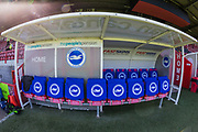 General view of The People's Pension Stadium home team dugout ahead of the FA Women's Super League match between Brighton and Hove Albion Women and Chelsea at The People's Pension Stadium, Crawley, England on 15 September 2019.