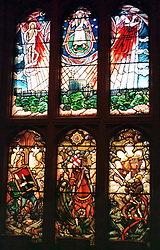 File photo dated 17/11/97 of the stained glass window, based on a design by the Duke of Edinburgh, in the newly restored Royal Chapel at Windsor Castle, where Archie Mountbatten-Windsor will be christened, which had to be entirely rebuilt following the devastating Windsor Castle fire in 1992.
