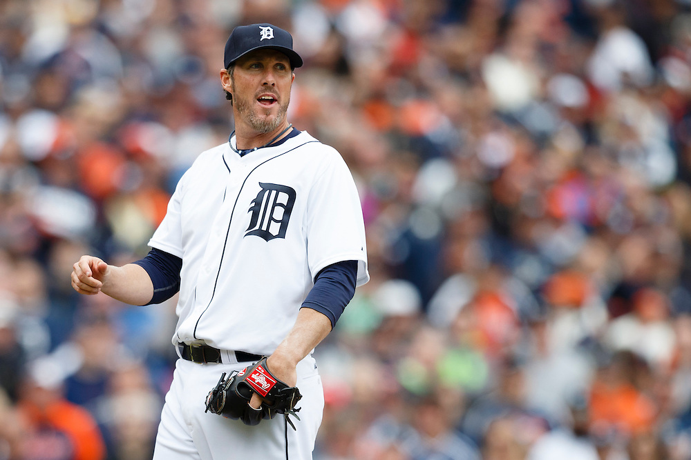 Apr 6, 2015; Detroit, MI, USA; Detroit Tigers relief pitcher Joe Nathan (36) reacts during the ninth inning against the Minnesota Twins at Comerica Park. Mandatory Credit: Rick Osentoski-USA TODAY Sports