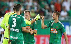 04.08.2016, Allianz Stadion, Wien, AUT, UEFA EL, SK Rapid Wien vs FC Torpedo Zhodino, 3. Runde, Rueckspiel, im Bild Jubel nach dem Sieg mit Jan Novotna (SK Rapid Wien), Christoph Schoesswendter (SK Rapid Wien), Christopher Dibon (SK Rapid Wien) und Mario Pavelic (SK Rapid Wien) // during a UEFA Europa League, Third Round, second leg, game between SK Rapid Vienna and FC Torpedo Zhodino at the Allianz Stadion, Vienna, Austria on 2016/08/04. EXPA Pictures © 2016, PhotoCredit: EXPA/ Thomas Haumer