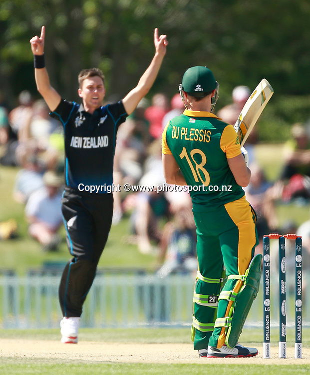 Trent Boult of New Zealand after dismissing David Miller of South Africa during the ICC Cricket World Cup warm up game between New Zealand v South Africa at Hagley Oval, Christchurch. 11 February 2015 Photo: Joseph Johnson / www.photosport.co.nz