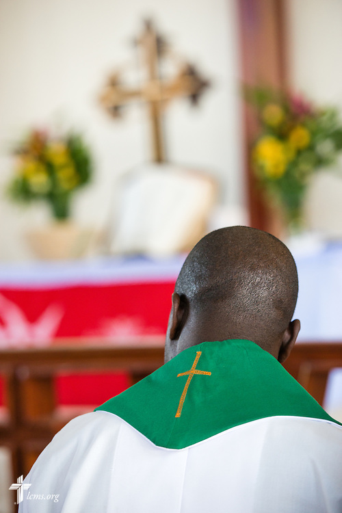 Led by Bishop Emmanuel Makala, a pastoral candidate is ordained on Sunday, March 15, 2015, at the Evangelical Lutheran Church in Tanzania – South-East of Lake Victoria Diocese's (ELCT-SELVD) Ebenezer Cathedral in Shinyanga, Tanzania. LCMS Communications/Erik M. Lunsford