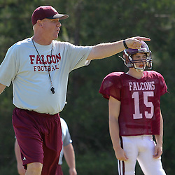 During St. Thomas Aquinas Falcons spring football practice at Falcons Field in Hammond, La.