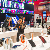LAS VEGAS - JANUARY 11 : Booth of Stereo headphones at the CES show held in Las Vegas on January 11 2013 , CES is the world's leading consumer-electronics show and companies from all over the world come to show their latest technologies and products.
