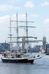 © Licensed to London News Pictures. 26/05/2016. Accessible tall ship Lord Nelson pictured Tower Bridge today. The vessel, operated by the Jubilee Sailing Trust, is in London to mark its 30th anniversary and a celebratory event was held yesterday with the Duke of York in attendance. Lord Nelson's many facilities enable disabled crew to perform their duties independently alongside their able-bodied shipmates. Credit: Rob Powell/LNP