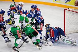 14.11.2012, Arena Zagreb, Zagreb, CRO, EBEL, KHL Medvescak Zagreb vs HDD Telemach Olimpija Ljubljana, 20. Runde, in picture Geoff Waugh (KHL Medvescak Zagreb, #44) checks Chris D'Alvise (HDD Telemach Olimpija, #15) in front of Robert Kristan (KHL Medvescak Zagreb, #33) during the Erste Bank Icehockey League 20th Round match between KHL Medvescak Zagreb and HDD Telemach Olimpija Ljubljana at the Arena Zagreb, Zagreb, Slovenia on 2012/11/14. (Photo By Matic Klansek Velej / Sportida)