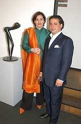 FREDERICA DELLA ROCCA and MANUEL PINTO RIBEIRO at a private view of Sculptures by Richard Hudson held at Hamiltons Gallery, 13 Carlos Place, London on 10th May 2005.<br />