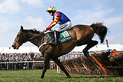 Over the last safely goes Vive Le Roi and Harry Bannister in the 1:45pm The Gaskells Handicap Hurdle (Grade 3) during the Grand National Meeting at Aintree, Liverpool, United Kingdom on 6 April 2019.