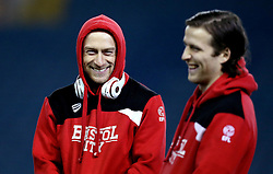 David Cotterill and Adam Matthews of Bristol City smile on arrival at Elland Road for the Sky Bet Championship fixture with Leeds United - Mandatory by-line: Robbie Stephenson/JMP - 14/02/2017 - FOOTBALL - Elland Road - Leeds, England - Leeds United v Bristol City - Sky Bet Championship