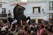 Jaleo or Fiesta de Caballos, an annual horse festival on the saint's day of St Anthony the Great or San Antoni Abat, at Fornells, Menorca, Balearic Islands, Spain. During the festival, the riders demonstrate their abilities by rearing their Menorcan purebred horses and making them jump and dance to the rhythm of traditional brass band music, while the crowd around tries to touch them. Picture by Manuel Cohen